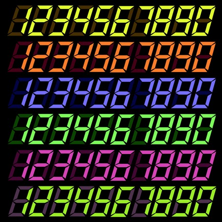 digital numbers: Set of Colorful Digital Numbers Isolated on Dark Background.