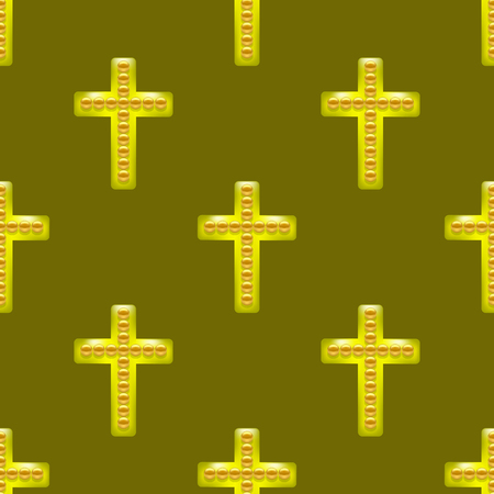 Golden Metal Cross Seamless Pattern on Brown Background. Christian Religious Symbol.