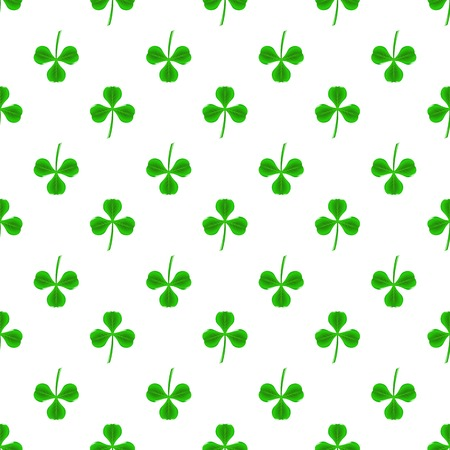 shamrock seamless: Green Clover Seamless Pattern on White. Shamrock Background Stock Photo