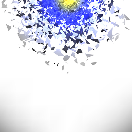 Explosion Cloud of Grey Pieces on White Background. Sharp Particles Randomly Fly in the Air. Stok Fotoğraf - 63702604