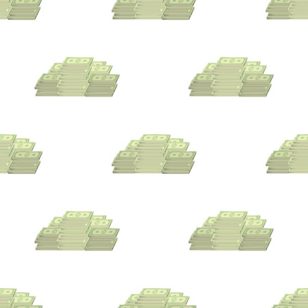 us paper currency: Set of Paper Dollars Seamless Pattern on White Background. American Banknotes. Cash Money. US Currency