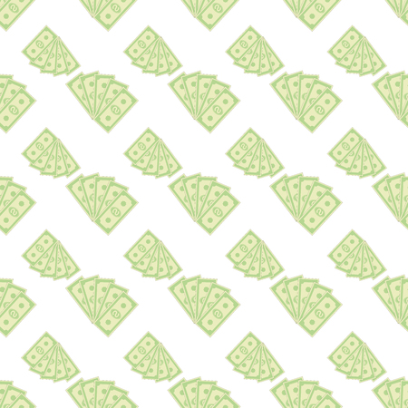paper currency: Set of Paper Dollars Seamless Pattern on White Background. American Banknotes. Cash Money. US Currency