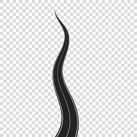 curved road: Curved Road on Transparent Background. Highway with White Road Marking Illustration