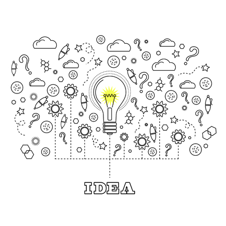 brainstorm: Idea Concept with Light Bulb and Doodle Sketches Creative, Technology  Icons Illustration