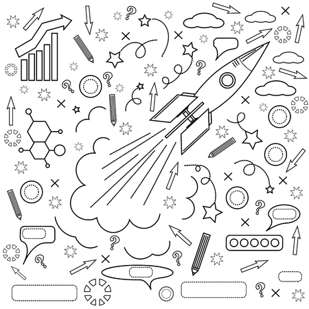 engeneering: Rocket Icon Isolated on White Background. Concept of Success, Start Up, Initiatives, Team Work. Lines Design