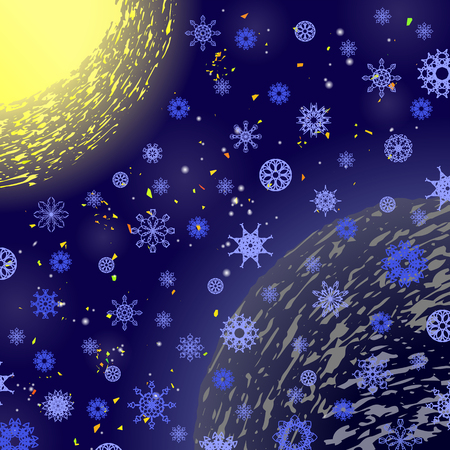 Winter Snowflake Blue Pattern. Christmas Background. Sun and Earth Illustration