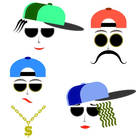 Hip Hop Boys Faces Isolated on White Background.