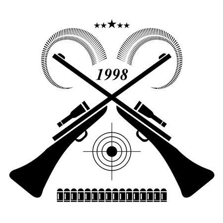target shooting: Vintage Hunting Label, Logo of Badge. Rifles for Hunt and Optical Sight. Animal Horns, Cartridges, Target Shooting, Stars. Hunters Club. Illustration