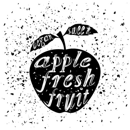 grunge banner: Apple Icon Typography Design on White Grunge Background. Vintage Fruit Poster, Banner, Label  with Lettering Illustration