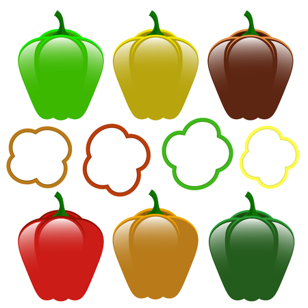 Set of Fresh Sweet Colored Red Green Yellow Bell Peppers Isolated on White Background