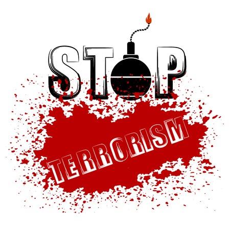 grunge banner: Bomb Icon on Red Grunge Background. Stop Terrorism Banner. Illustration