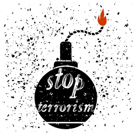 Bomb Icon Typography Design and Lettering on Particles Grunge Background. Stop Terrorism Banner.