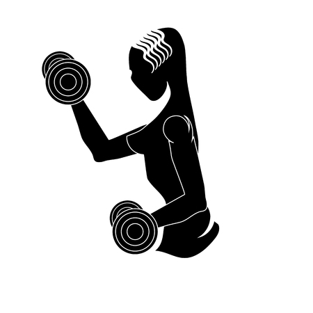strenght: Sport Club Gym Design Isolated on White Background. Female Silhouette with Dumbbels. Fitness Emblem. Strenght Training. Bodybuilder Holding Weight.
