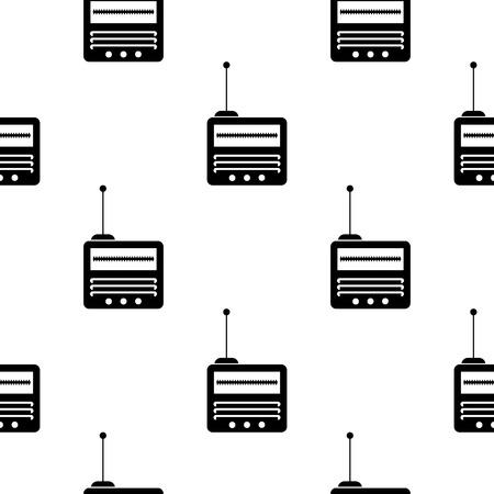 old radio: Retro Old Radio Icon Seamless Pattern on White Background.