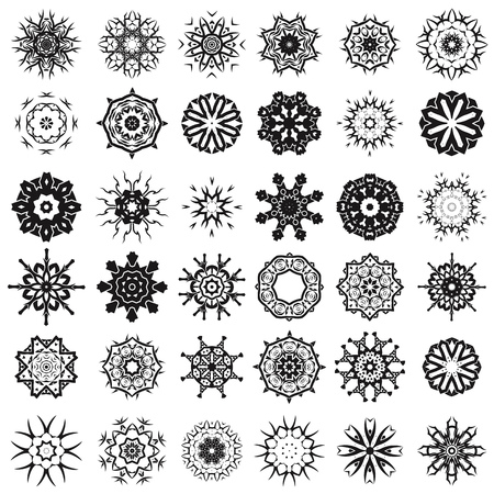 fl: Set of Different Tribal Rosettes Tattoo Design Isolated on White Background. Polynesian Design