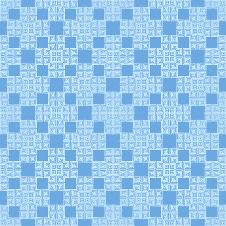 Blue Seamless Geometric Greek Ornament. Square Wave Forms in Greek Style.