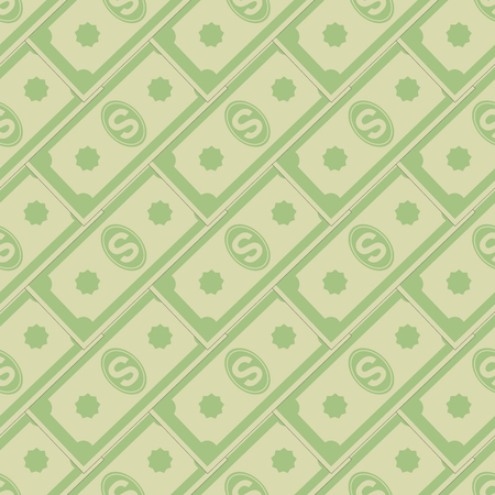 dividend: Set of Paper Dollars Seamless Pattern on White Background. American Banknotes. Cash Money. US Currency