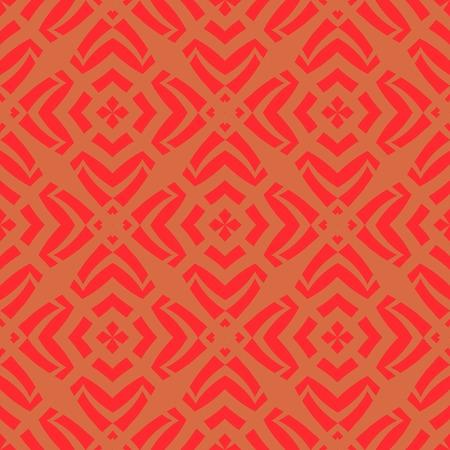 Red Ornamental Seamless Line Pattern. Endless Texture. Oriental Geometric Ornament Illustration