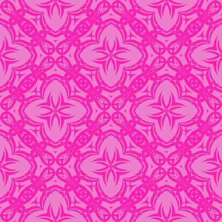Pink Ornamental Seamless Line Pattern. Endless Texture. Oriental Geometric Ornament