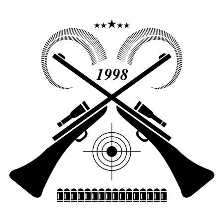 target shooting: Vintage Hunting Label, Badge. Rifles for Hunt and Optical Sight. Animal Horns, Cartridges, Target Shooting, Stars. Hunters Club.