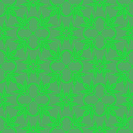 Green Ornamental Seamless Line Pattern. Endless Texture. Oriental Geometric Ornament