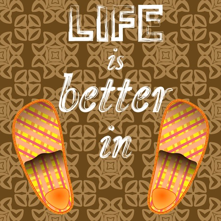grange: Home Slippers Poster Ornamental Background. Grange Positive Quote. Sweet Home.