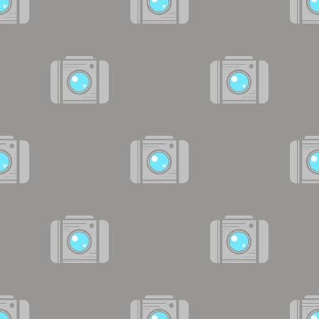 Digital Camera Seamless Pattern on Grey Background Illustration