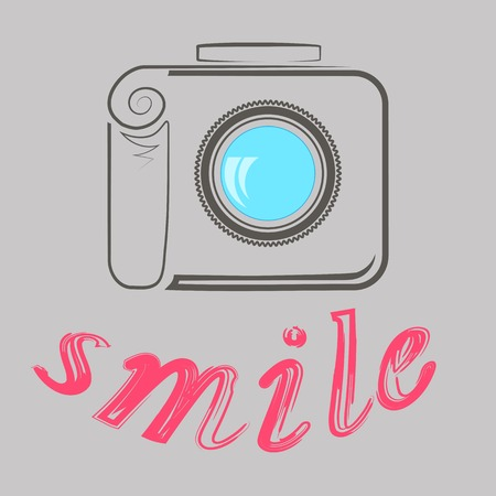 Digital Camera and Text Smile. Photographic Poster on Grey Background