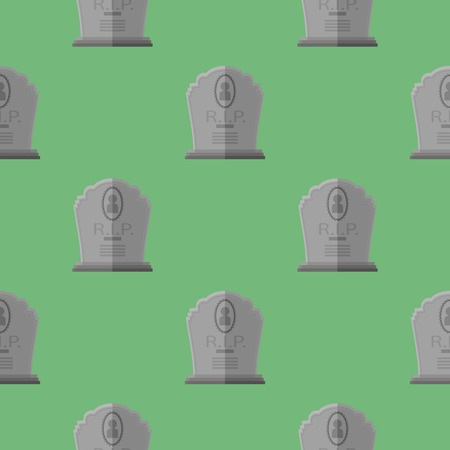 Gravestone Seamless Pattern on Green Background. Grey Stone Monuments on Halloween Cemetery. Grave Template.