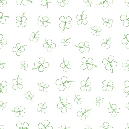Natural Chamrock Texture. Cartoon Clover Leaves Isolated on White Background. Patricks Day Banner Illustration