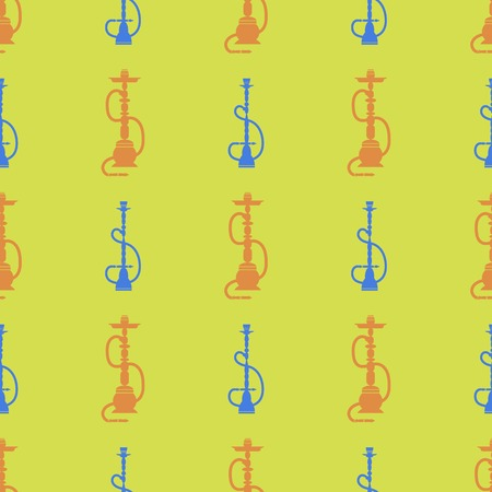 Hookah Silhouette Isolated on Yellow Background. Seamless Pattern Illustration