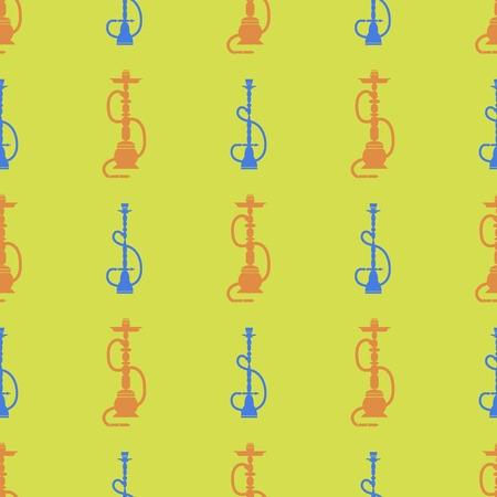 Hookah Silhouette Isolated on Yellow Background. Seamless Pattern Illustration