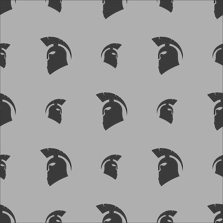 Greek Helmet Silhouette Seamless Pattern on Grey Background