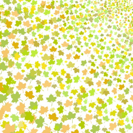 Green Maple Leaves Seamless Pattern on White Background