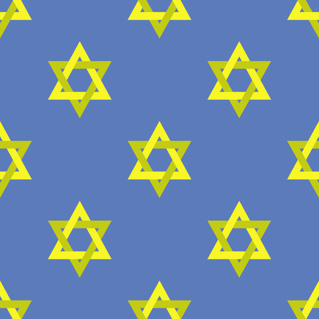Yellow Star of David Isolated on Blue Background. Seamless Pattern Illustration