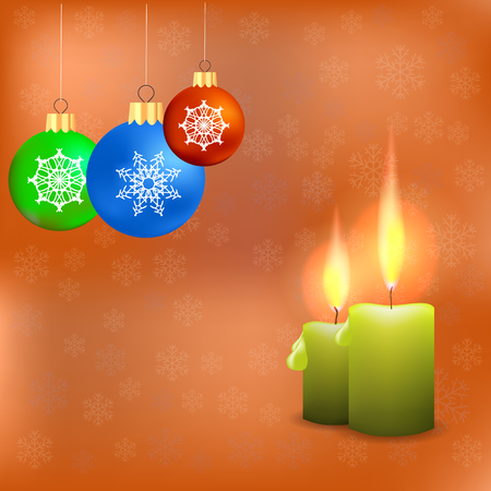 Candles and Colorful Glass Balls Isolated on Orange Snowflakes Background. Winter Pattern.