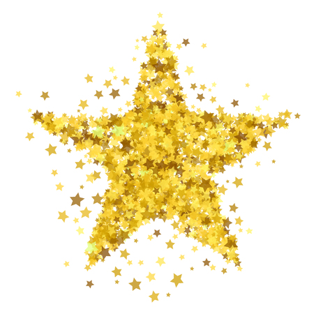 Gold Star Burst Isolated on White Background. Starry Pattern
