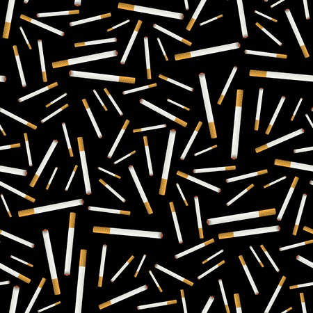 Burning Cigarette Seamless Pattern on Black Background