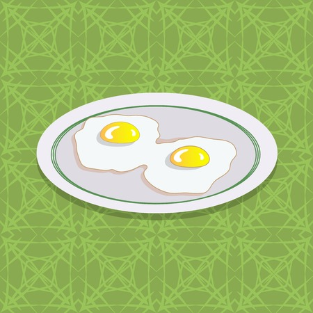 side dish: Two Fried Eggs on White Plate. Breakfast on Green Ornamental Tablecloth