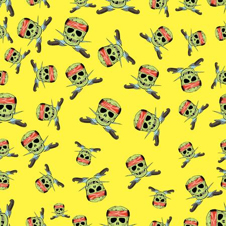 黄色の分離した鋭い短剣シームレス パターン クロス スカル  イラスト・ベクター素材