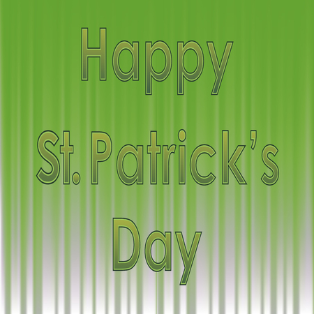 Happy St. Patricks Day Banner. Green Text on Green Wave Background Illustration