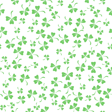 Natural Chamrock Seamless Texture. Cartoon Clover Leaves Isolated on White Background. Patricks Day Banner