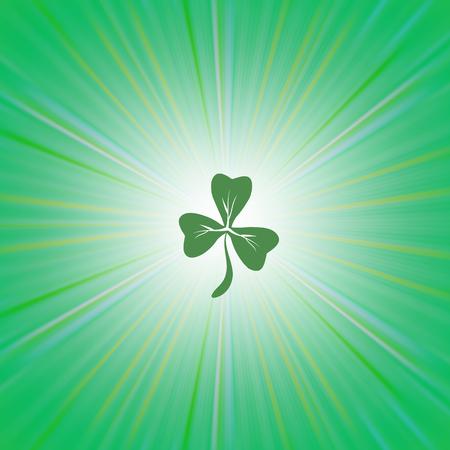Clover Icon on Green Wave Pattern. Shamrock Leaf. St. Patricks Day Background Illustration