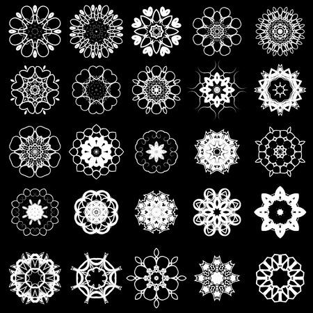dashes: Set of Different Tribal Rosette Tattoo Design Isolated on Black Background. Polynesian Design Illustration