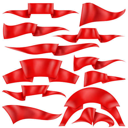 grand sale sticker: Set of Red Ribbons Isolated on White Background. Flag Collection