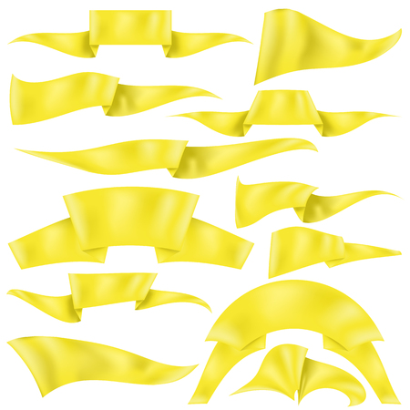 grand sale sticker: Set of Yellow Ribbons Isolated on White Background. Flag Collection