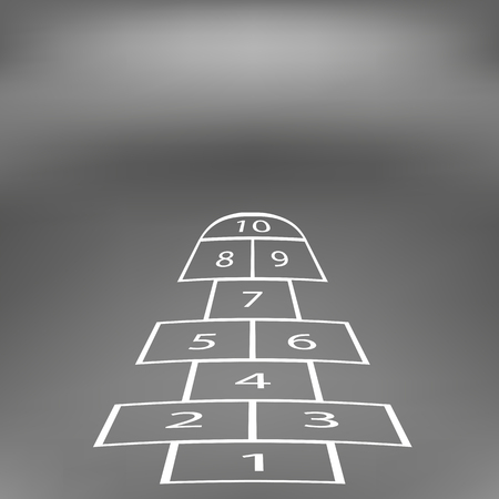Hopscotch Game Isolated on Abstract Soft Grey Background. Vettoriali