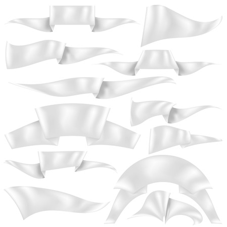 Set of  Ribbons Isolated on White Background. Flag Collection