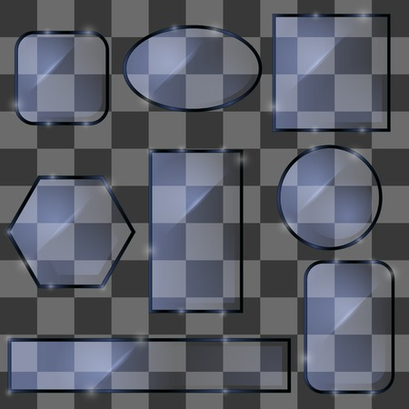 Different Glass Banners on Grey Checkered Background Illustration