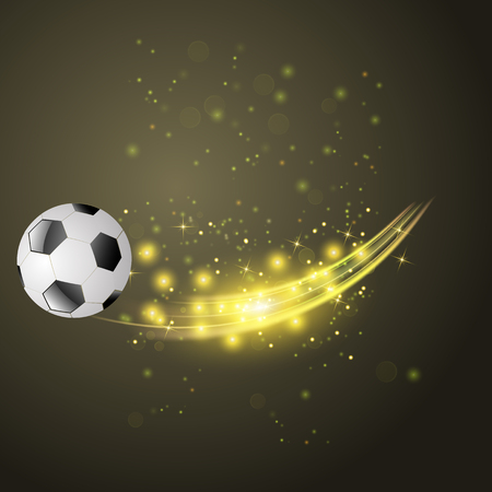 Sport Football Icon with Sparcles and Flares on Dark Background
